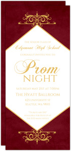 Prom invitations prom party invitations personalized prom elegant red gold prom night invitation stopboris Image collections