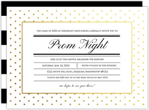 Modern Type Gold Foil Dot Prom Night Invitation