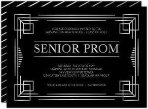 Bold Faux Silver Foil Senior Prom Invitation