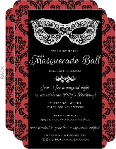 Red Black Damask Masquerade Invitation