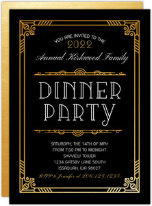 Faux Gold Art Deco Dinner Party Invitation