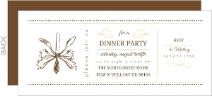 Gold And Brown Silverware Dinner Invitation