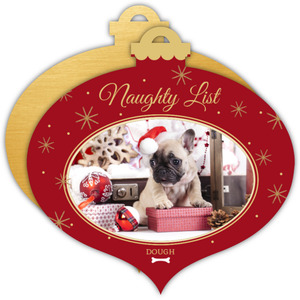 Naughty List Dog Christmas Photo Ornament Card