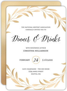 Faux Gold Laurel Dinner Party Invitation