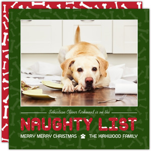 Bones Pattern Naughty List Dog Christmas Card