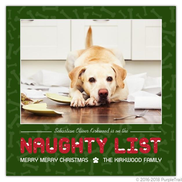 Dog Christmas Cards.Bones Pattern Naughty List Dog Christmas Card