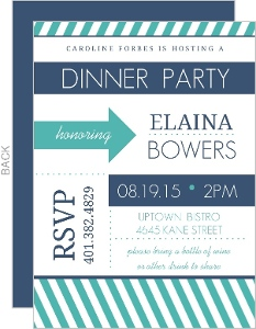 Modern Stripes Navy And Turquoise Dinner Party Invitation