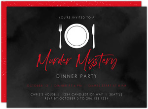 Black and Red Murder Mystery Dinner Party Invitation