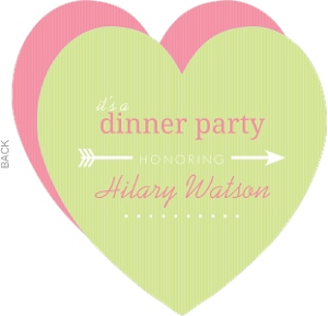Pink And Green Arrow Heart Dinner Invite