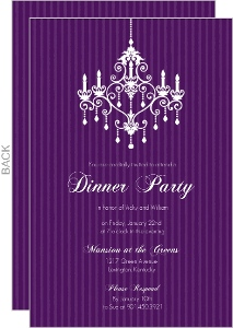 Purple Chandelier Dinner Party Invitation