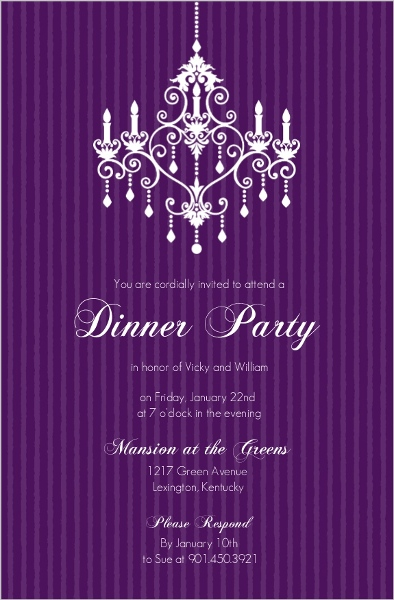 Purple chandelier dinner party invitation dinner party invitations purple chandelier dinner party invitation stopboris