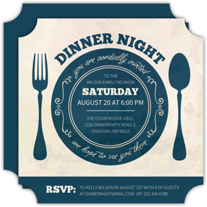 Vintage Plate Dinner Party Invitation