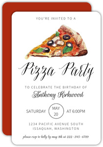 Watercolor Pizza Party Invitation