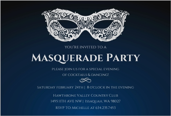 Dark Blue And Silver Masquerade Party Invitation Cocktail Party