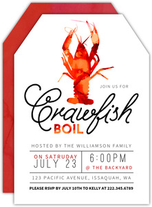 Watercolor Crawfish Dinner Party Invitation