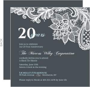 Blue And Gray Elegant Lace Dinner Party Invite