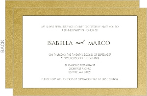 Gold Metallic Antique Style Dinner Party Invite