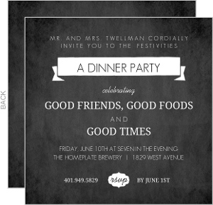Black Chalkboard Dinner Invite