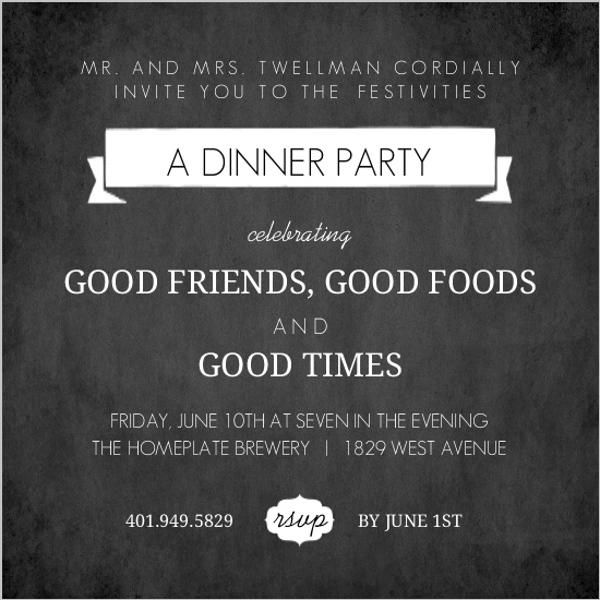 Dinner party invitations dinner invitations black chalkboard dinner invite stopboris Images