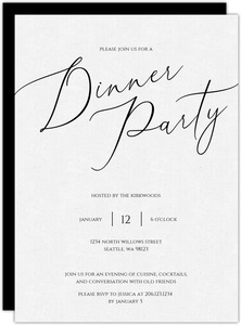 Simple Script Dinner Party Invitation