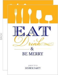 Eat Drink And Be Merry Dinner Party Invitation