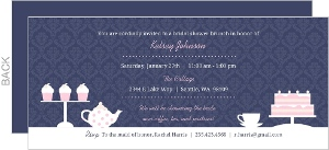 Pink And White Tea And Cakes Brunch Invitation