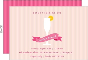 Pink Mimosa And Banner Brunch Invitation