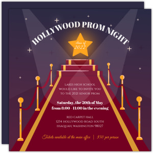 Hollywood Night Senior Prom Invitation