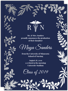 Navy & Gold Foil Foliage Nursing School Graduation Invitation
