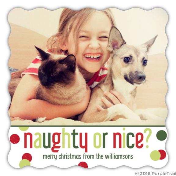 naughty or nice pet christmas photo card - Naughty Or Nice Christmas Card