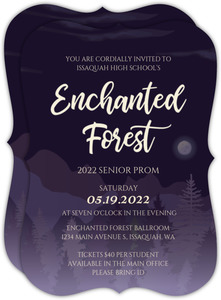 Midnight Purple Forest Prom Invitation