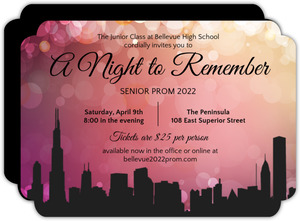 Prom invitations prom party invitations personalized prom city scape prom night invitations stopboris Image collections