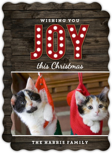 Woodgrain Joy Pet Christmas Card