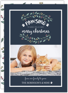 Christmas Wreath And Paws Cat Christmas Card