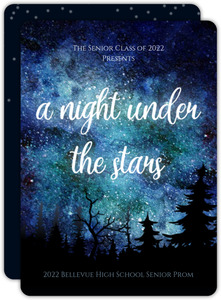 Night Under The Stars Watercolor Prom Invitation