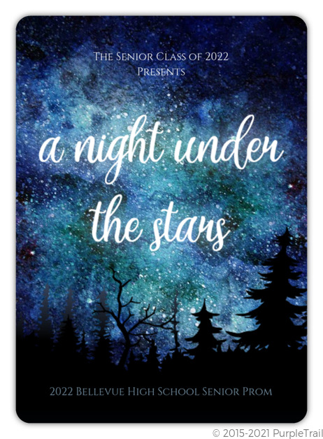 night under the stars watercolor prom invitation prom invitations