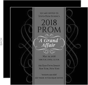 Prom invitations prom invites black and white formal square prom invite stopboris Image collections
