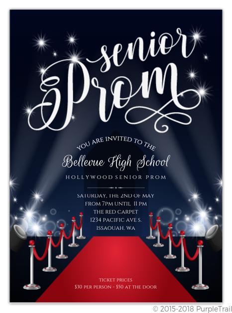 Red Carpet Senior Prom Invitation Prom Invitations