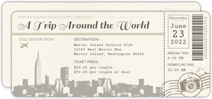 Trip Around The World Ticket Prom Invitation