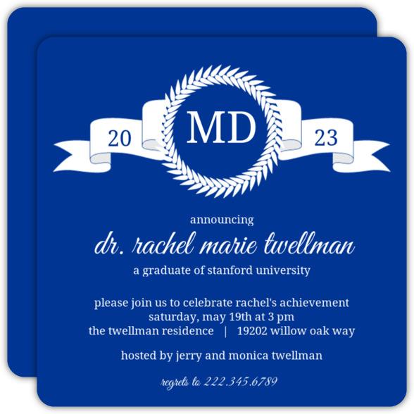 Maroon Monogram MD Graduation Announcement