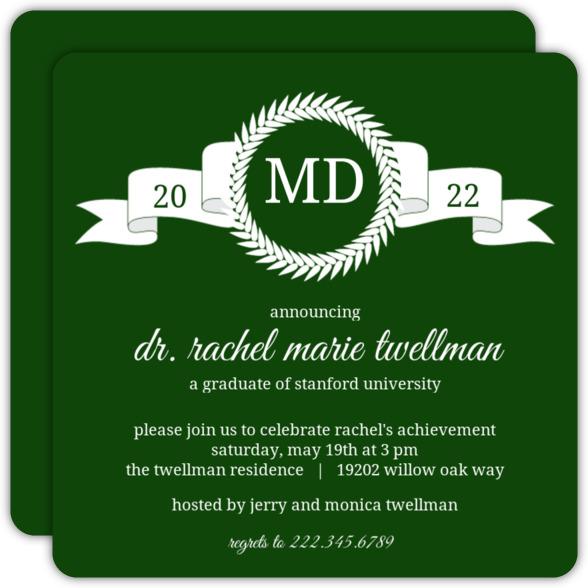 Maroon Monogram MD Graduation Announcement