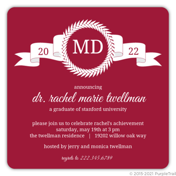 Maroon monogram md graduation announcement graduation invitations maroon monogram md graduation announcement filmwisefo Images