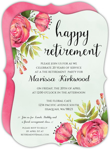 Red & Coral Watercolor Floral Retirement Invitation