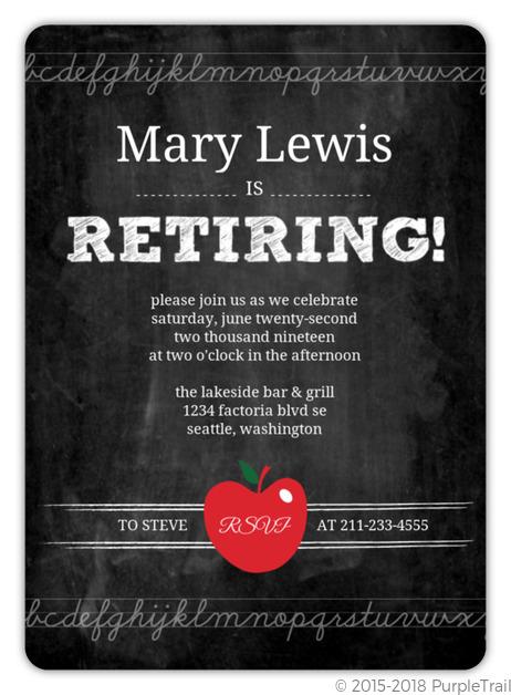 simple chalkboard teacher retirement invitation retirement invitations