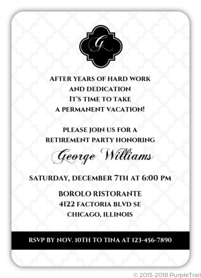 black and white formal retirement invitation retirement invitations