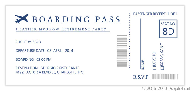 Boarding Pass Retirement Party Invitation Retirement Invitations