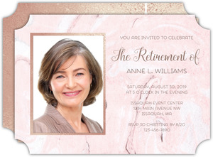 Blush Marble & Faux Rose Gold Retirement Invitation