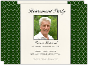 Silver Quatrefoil Pattern Retirement Invitation