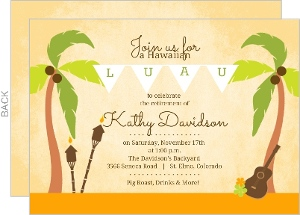 Palm Tree Hawaiian Luau Retirement Party Invitation