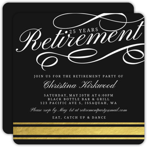 Simple Gold Foil Retirement Party Invitation